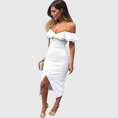 Tiered Sleeve Off Shoulder Ruffles Bodycon Dress