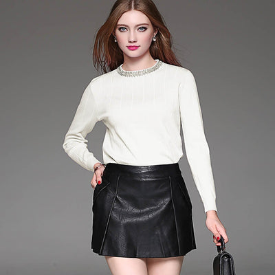 Long Sleeve Rhinestone Glamorous Plain Sweater