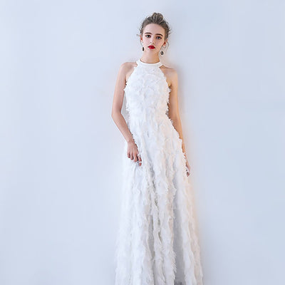 Sleeveless Fringed Stunning Plain Gown