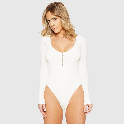 Long Sleeve Zipper Sexy Plain Bodysuit