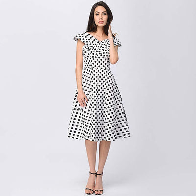 Cap Sleeve Off Shoulder Retro Polka Dot Dress