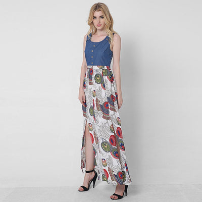 Sleeveless Round Neck Boho Floral Print Dress