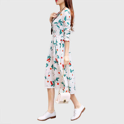 Long Sleeve Drawstring Sweet Floral Print Dress