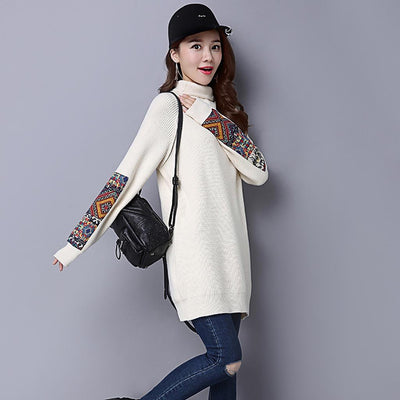 Long Sleeve Turtle Neck Cozy Tribal Embroidery Dress