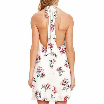Sleeveless Halter Neck Cute Floral Print Dress