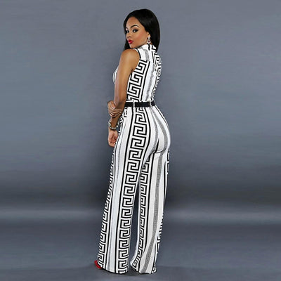 Sleeveless High Neck Bold Geometric Print Jumpsuit
