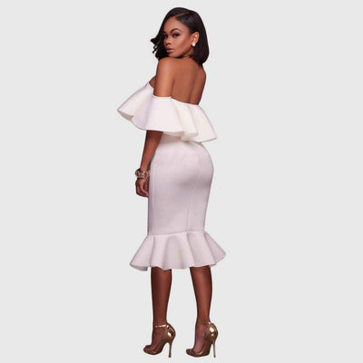 Ruffle Sleeve Off Shoulder Elegant Plain Dress