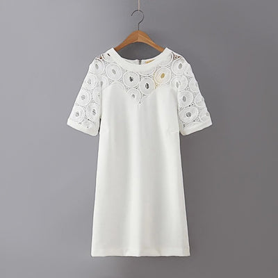 Short Sleeve Crochet Retro Plain Dress