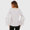 Ruffle Sleeve Boat Neck Chic Polka Dot Blouse