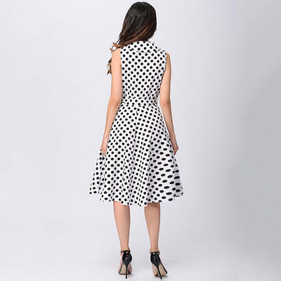Sleeveless Belted Retro Polka Dot Dress