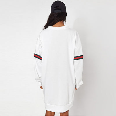 Long Sleeve Trimmed Sporty Striped Dress