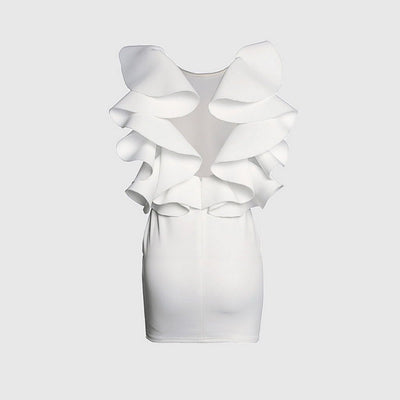 Sleeveless Ruffles Sexy Plain Dress