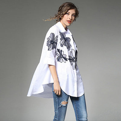 3/4 Length Sleeve Applique Flattering Floral Embroidery Shirt