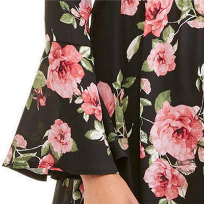Trumpet Sleeve Round Neck Sweet Floral Print Dress