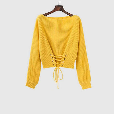 Long Sleeve Eyelet Sweet Plain Sweater