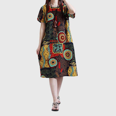 Short Sleeve Round Neck Boho Tribal Print Dress