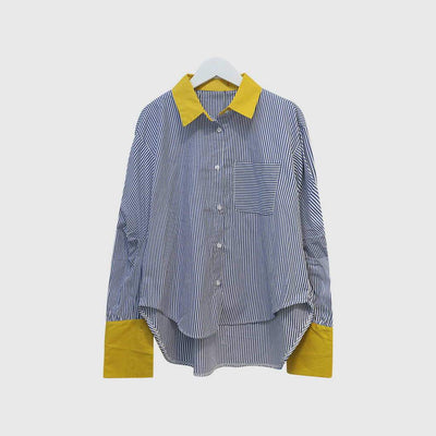 Cuff Sleeve Pocket Boyish Striped Shirt