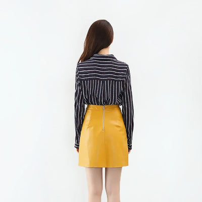 Regular Waist Retro Plain Skirt
