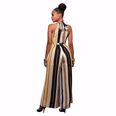 Sleeveless Halter Neck Bold Striped Jumpsuit