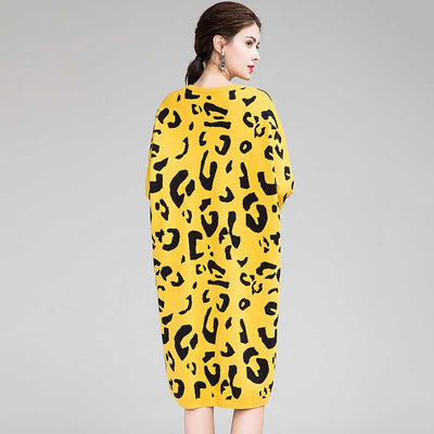 Long Sleeve Round Neck Wild Leopard Print Dress