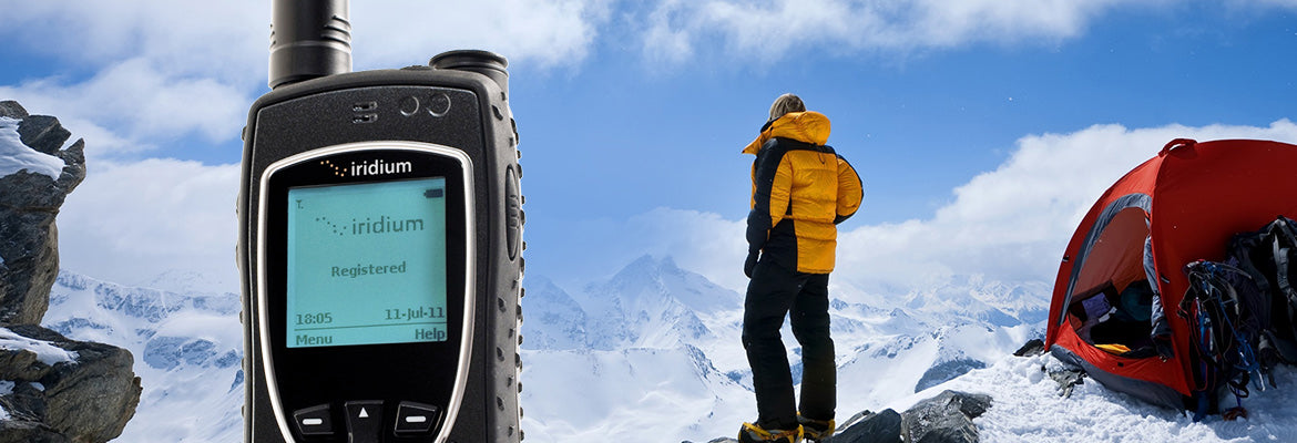 Iridium Extreme 9575 with  camping in the mountains