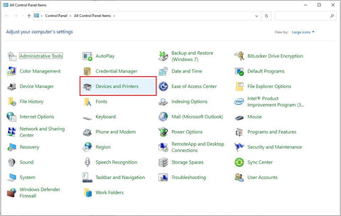 Open Control Panel thru searching in the Start Menu. You can find the Devices and Printers in the Control Panel window.