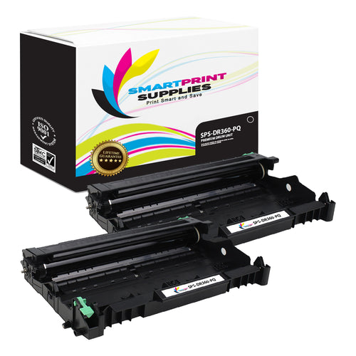 2 Pack Brother DR360 Premium Replacement Black Drum Unit by Smart Print Supplies