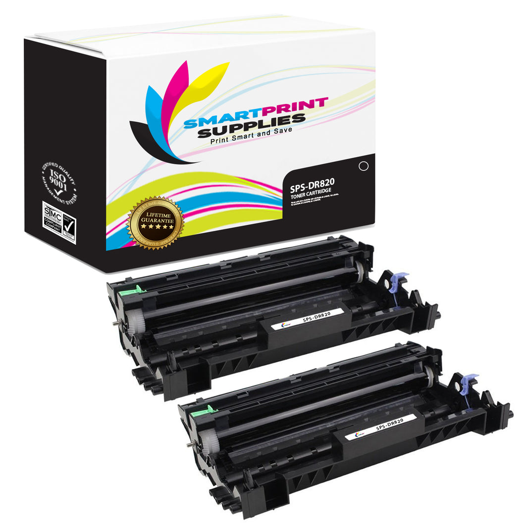 2 Pack Brother DR820 Replacement Black Drum Unit by Smart Print Supplies /30000 Pages
