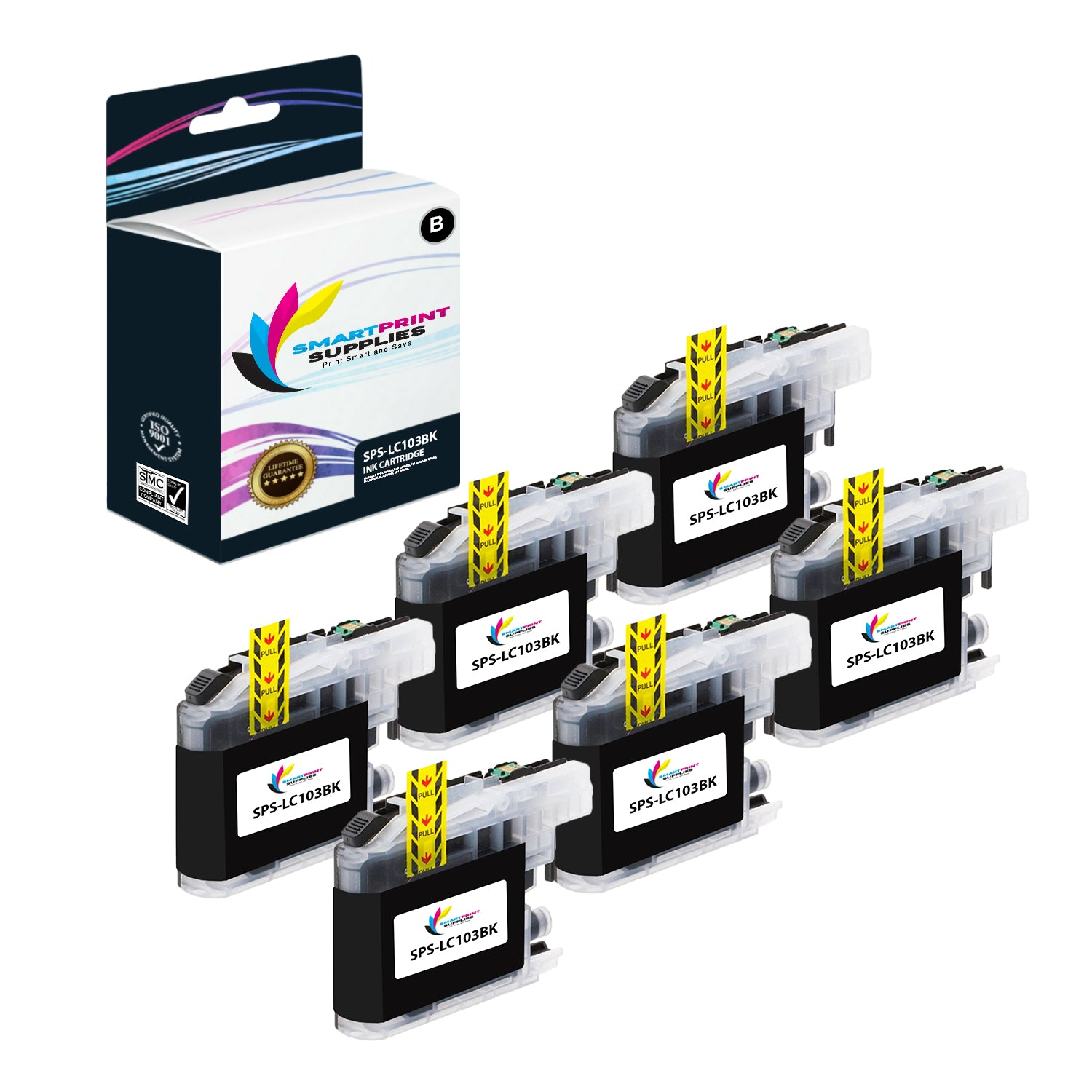 6 Pack Cyan, Magenta, Yellow Smart Print Supplies Compatible LC103 LC103C LC103M LC103Y Ink Cartridge Replacement for Brother MFC-J470DW J475DW J6920DW J285DW J870DW Printers