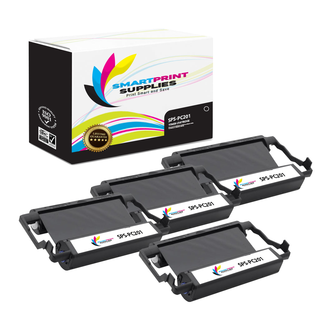 4 Pack Brother PC201 Black Compatible Ribbon Cartridge by Smart Print Supples