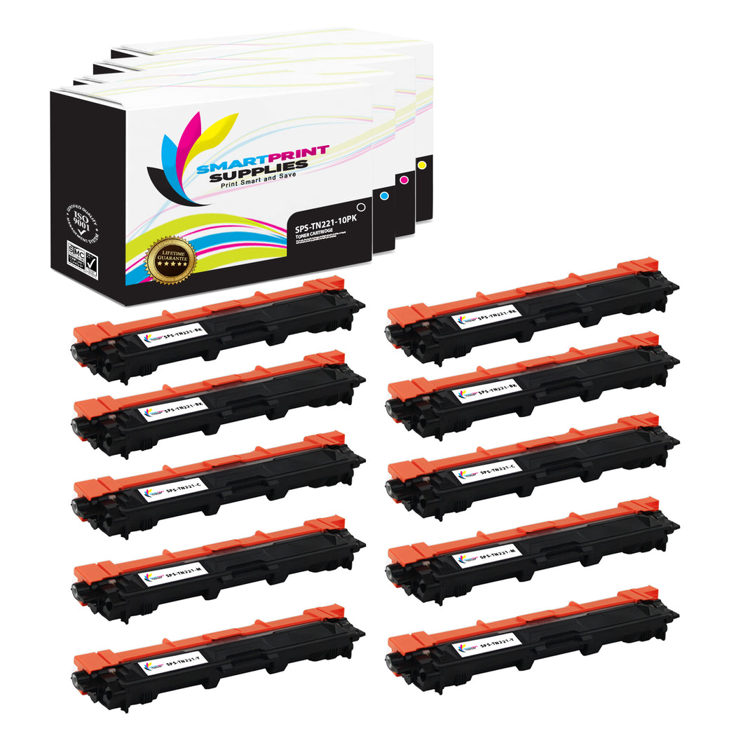 10 Pack Brother TN221 Replacement 4 Colors Toner Cartridge by Smart Print Supplies /2,500 per black cartridge, and 2,200 per color cartridge Pages