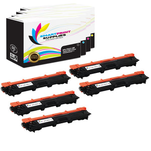 5 Pack Brother TN221 4 Colors Replacement Toner Cartridge By Smart Print Supplies