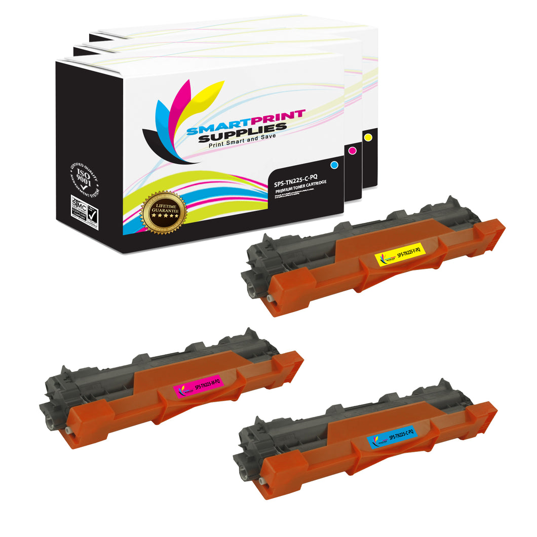 3 Pack Brother TN225 Premium Replacement 3 Colors Toner Cartridge by Smart Print Supplies /2,200 Pages
