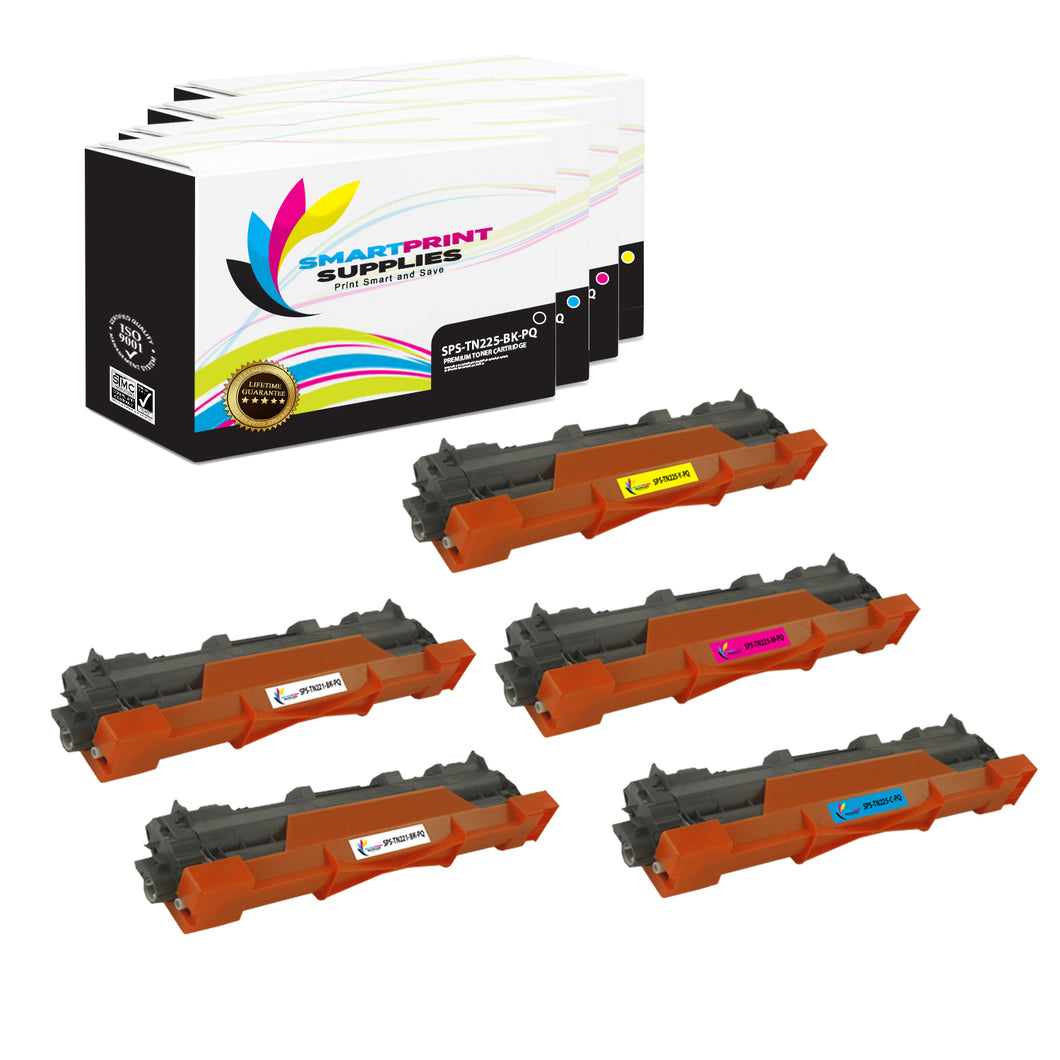 5 Pack Brother TN225 Premium Replacement Yellow Toner Cartridge by Smart Print Supplies /2,500 per black , and 2,200 per color Pages