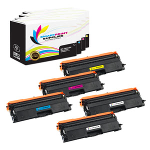 5 Pack Brother TN336 4 Colors Replacement Toner Cartridge By Smart Print Supplies