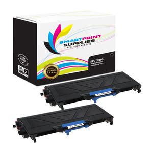 2 Pack Brother TN360 Black Replacement Toner Cartridge By Smart Print Supplies