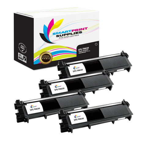 4 Pack  Brother TN630 Replacement Black Toner Cartridge by Smart Print Supplies /1200 Pages