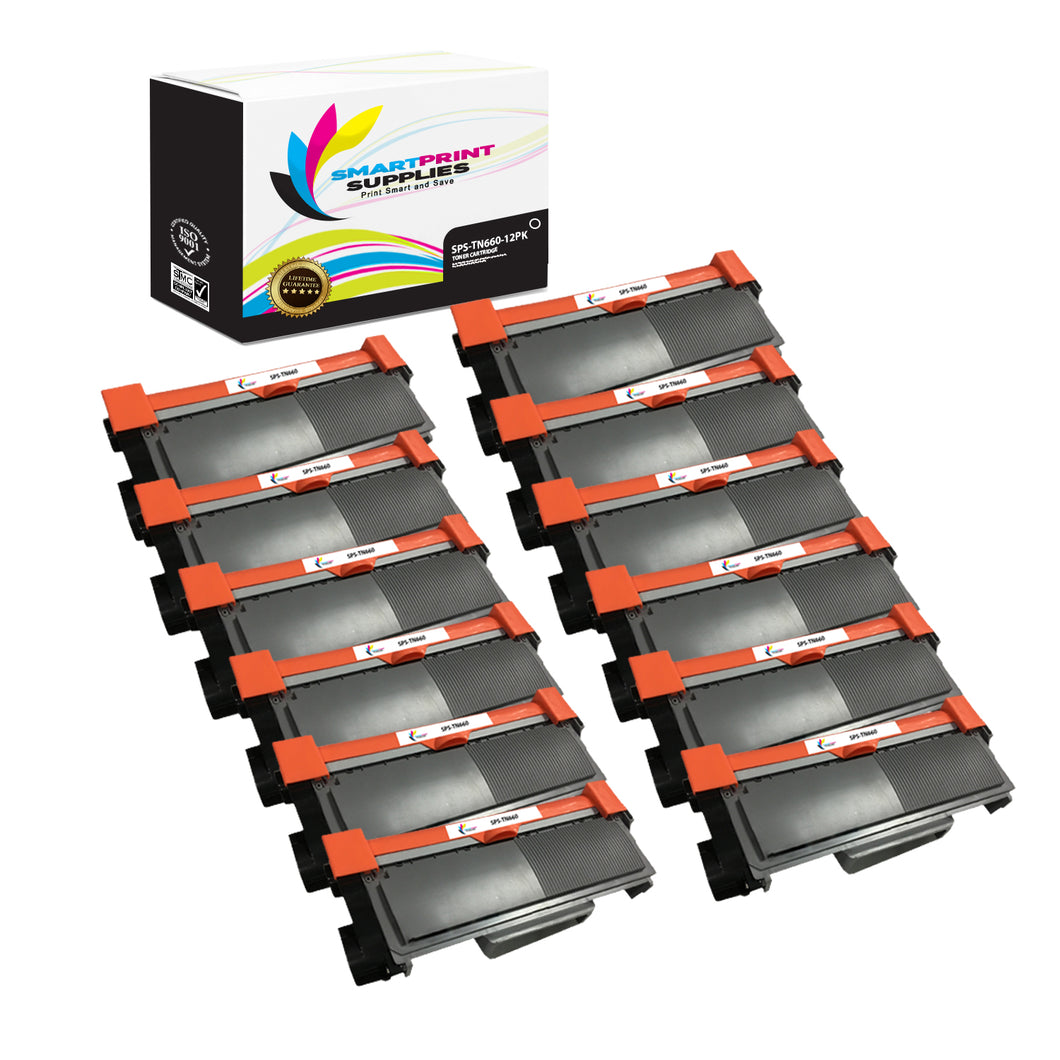 12 Pack Brother TN660 Black Replacement Standard Toner By Smart Print Supplies