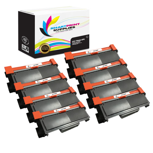 8 Pack Brother TN660 Replacement Black Toner Cartridge by Smart Print Supplies /2600 Pages