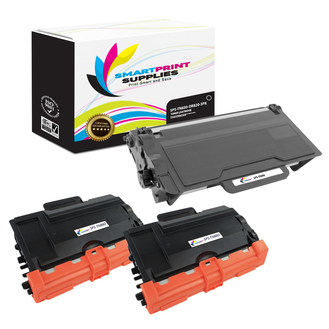 2 Pack Brother TN880 Replacement Black Toner Cartridge and DR820 Drum Units by Smart Print Supplies /12,000 per cartridges and 30,000 per drum unit Pages