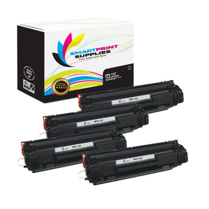 4 Pack  Canon 137 Replacement Black Toner Cartridge by Smart Print Supplies /2400 Pages
