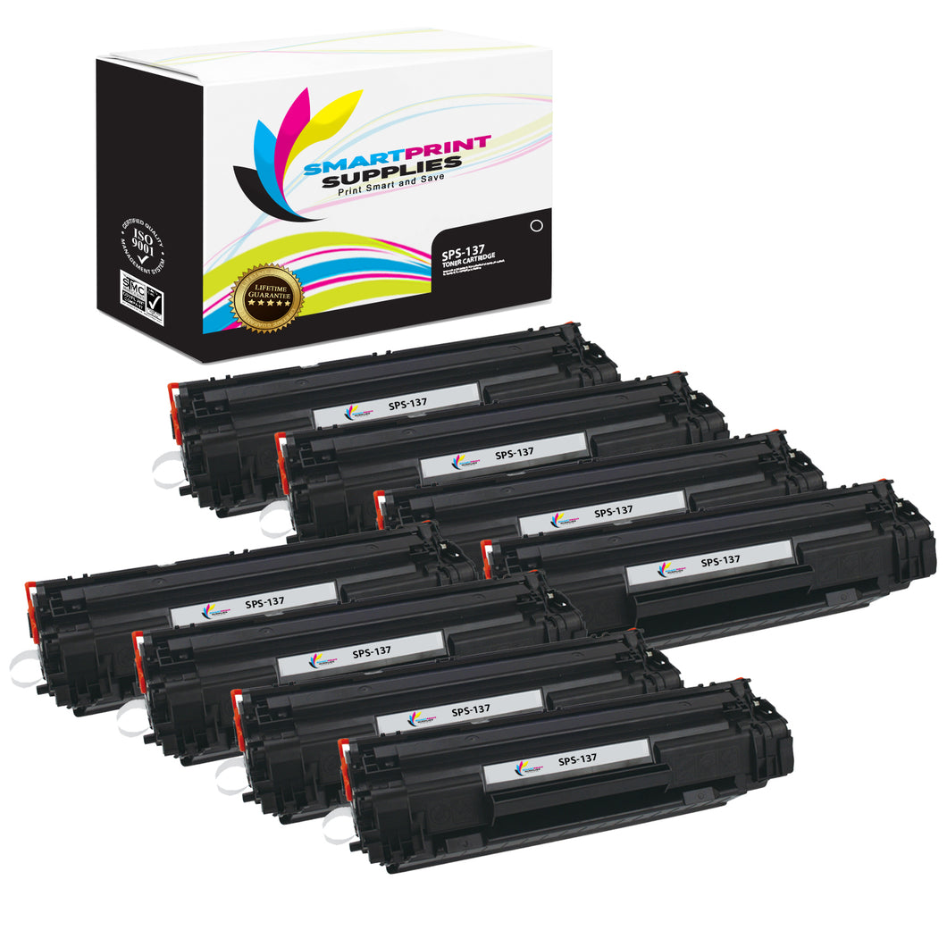 8 Pack Canon C 137 Black Replacement Standard Toner By Smart Print Supplies
