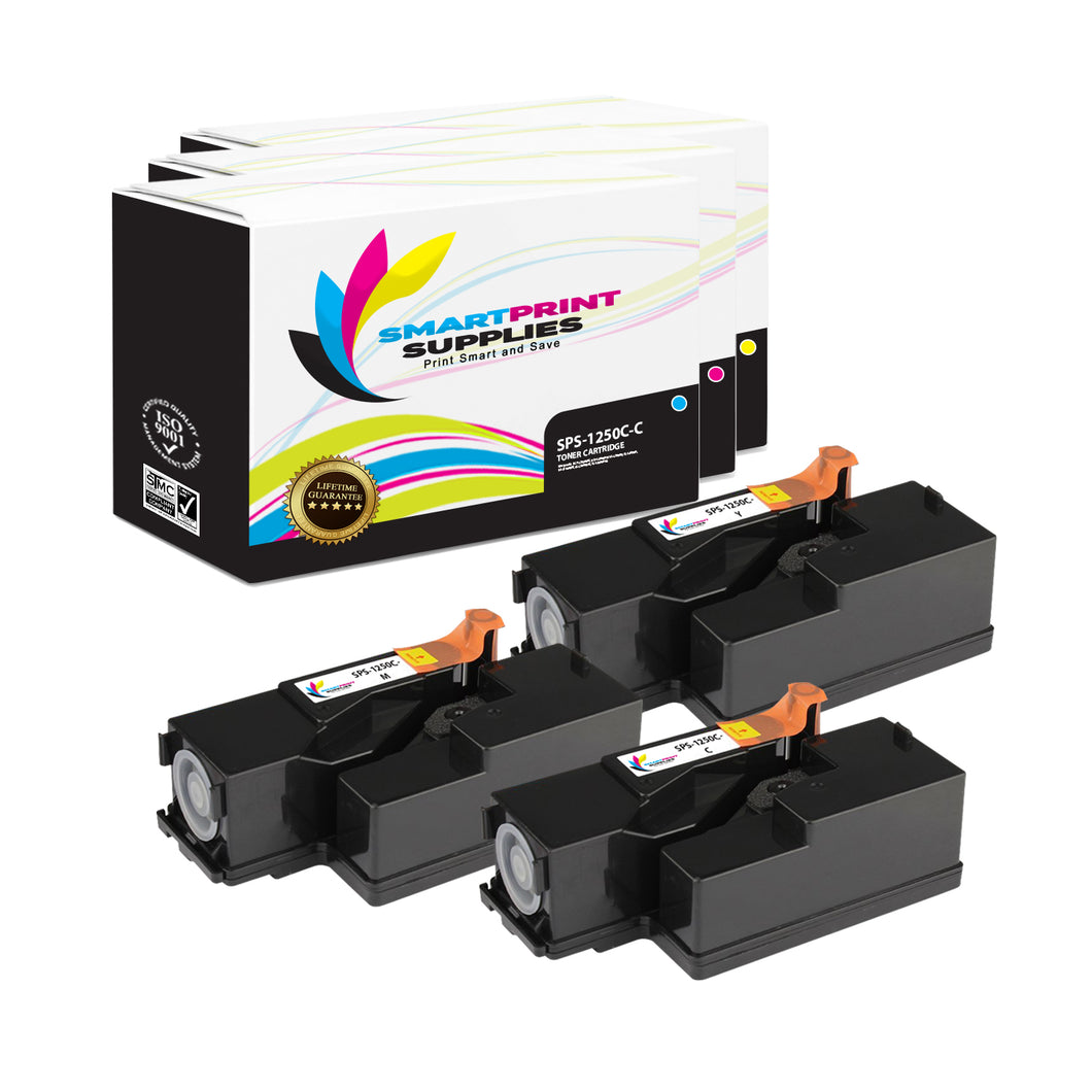 3 Pack Dell 1250C 3 Colors Replacement Toner Cartridge By Smart Print Supplies