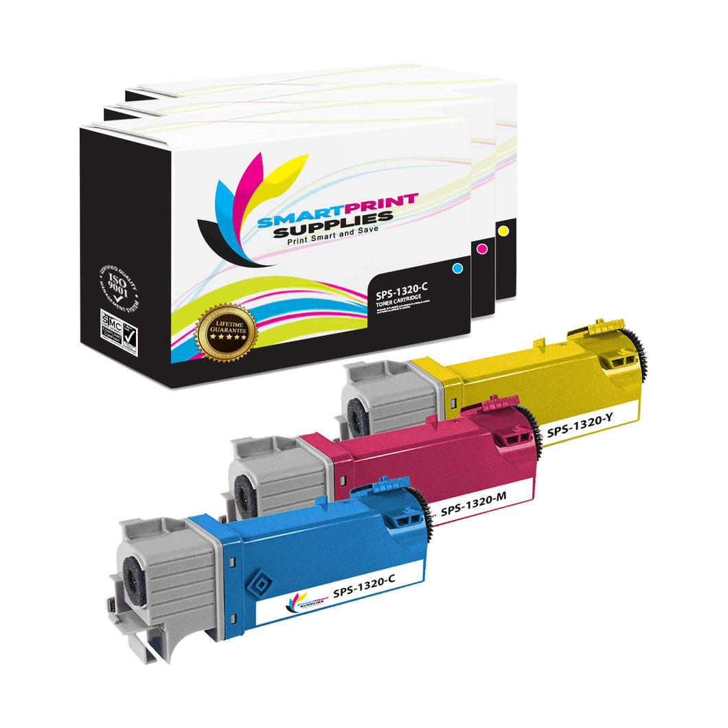 3 Pack Dell 1320C 3 Colors Replacement Toner Cartridge By Smart Print Supplies