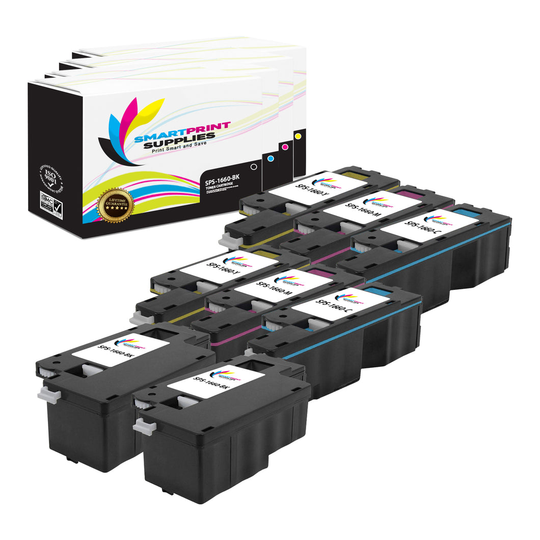 8 Pack Dell C1660W 4 Colors Replacement Toner Cartridge By Smart Print Supplies