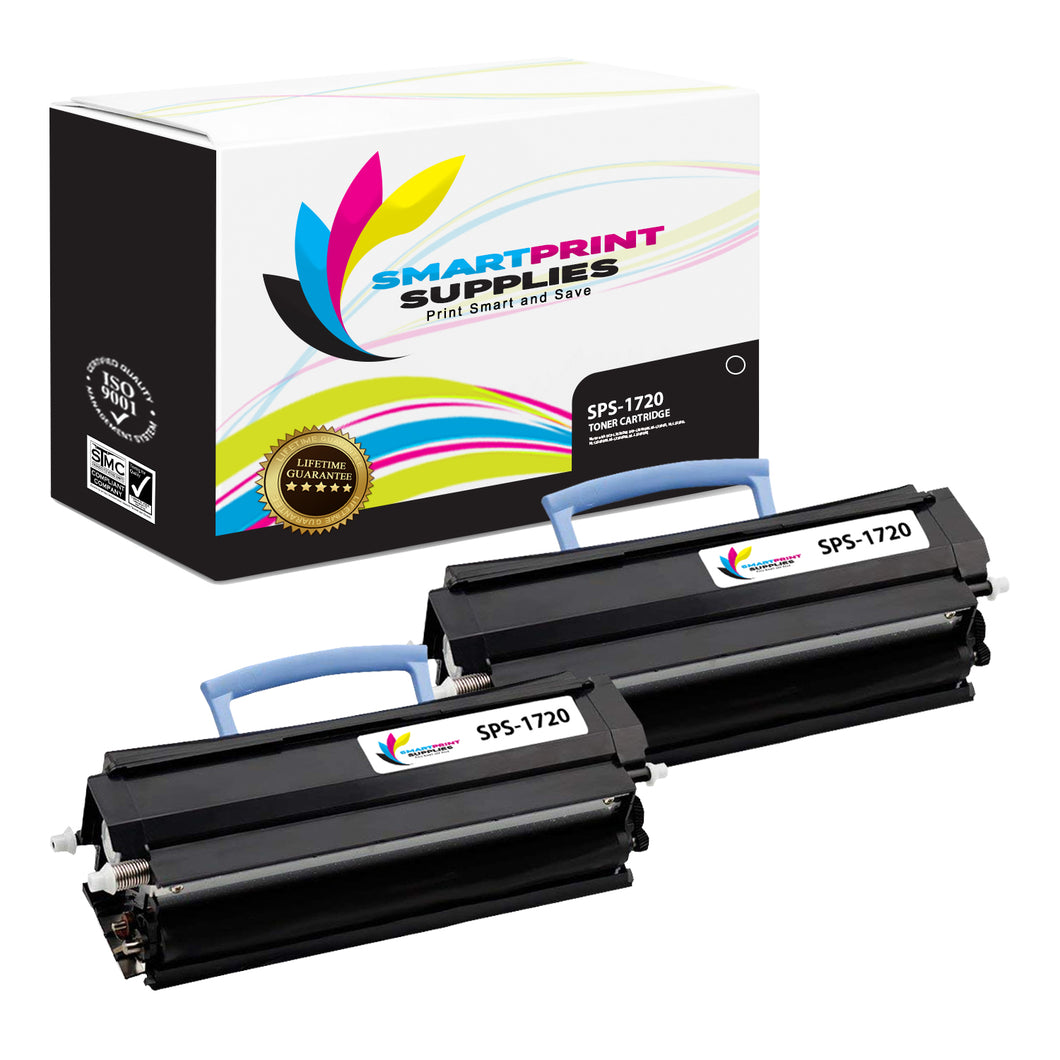 2 Pack Dell 1720 Black Replacement Toner Cartridge By Smart Print Supplies