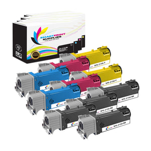 10 Pack Dell 2150CN 4 Colors Replacement Toner Cartridge By Smart Print Supplies