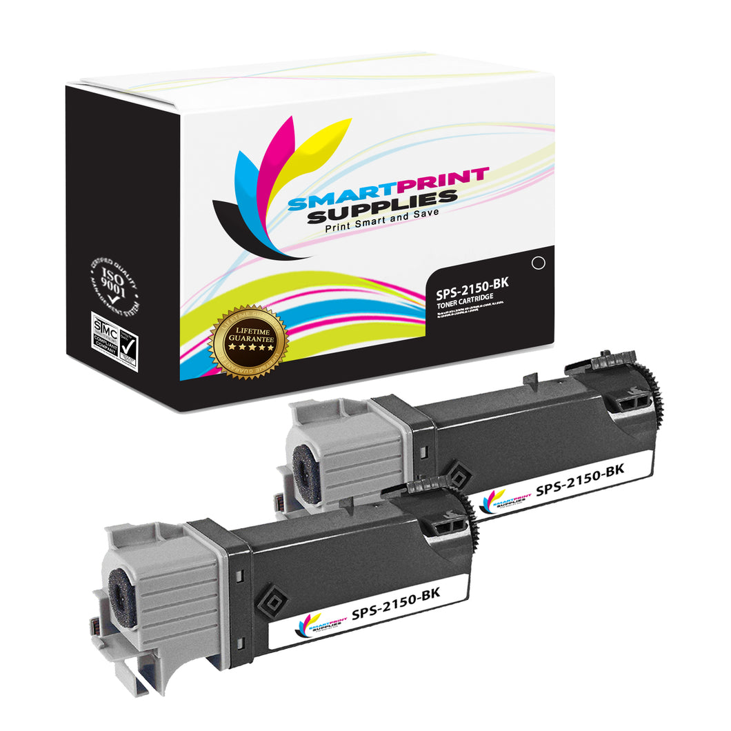 2 Pack Dell 2150CN Black Replacement Toner Cartridge By Smart Print Supplies