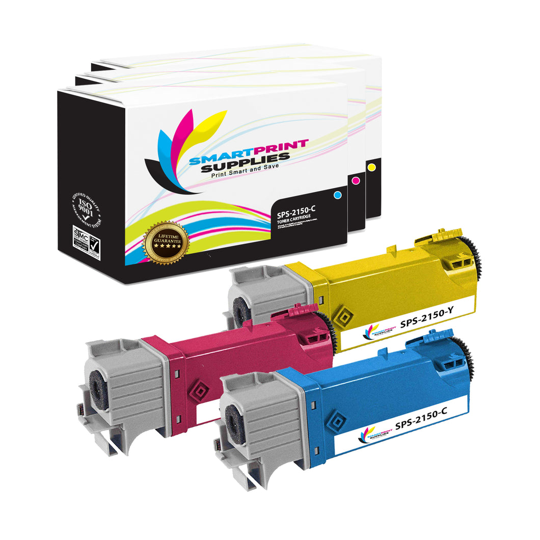 3 Pack Dell 2150CN 3 Colors Replacement Toner Cartridge By Smart Print Supplies