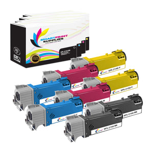 8 Pack Dell 2150CN 4 Colors Replacement Toner Cartridge By Smart Print Supplies
